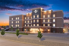 Exterior at dusk of Homewood Suites by Hilton - West Fargo - EPIC Companies