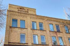 Exterior of Mill Square - old sign on building - Grand Forks, ND