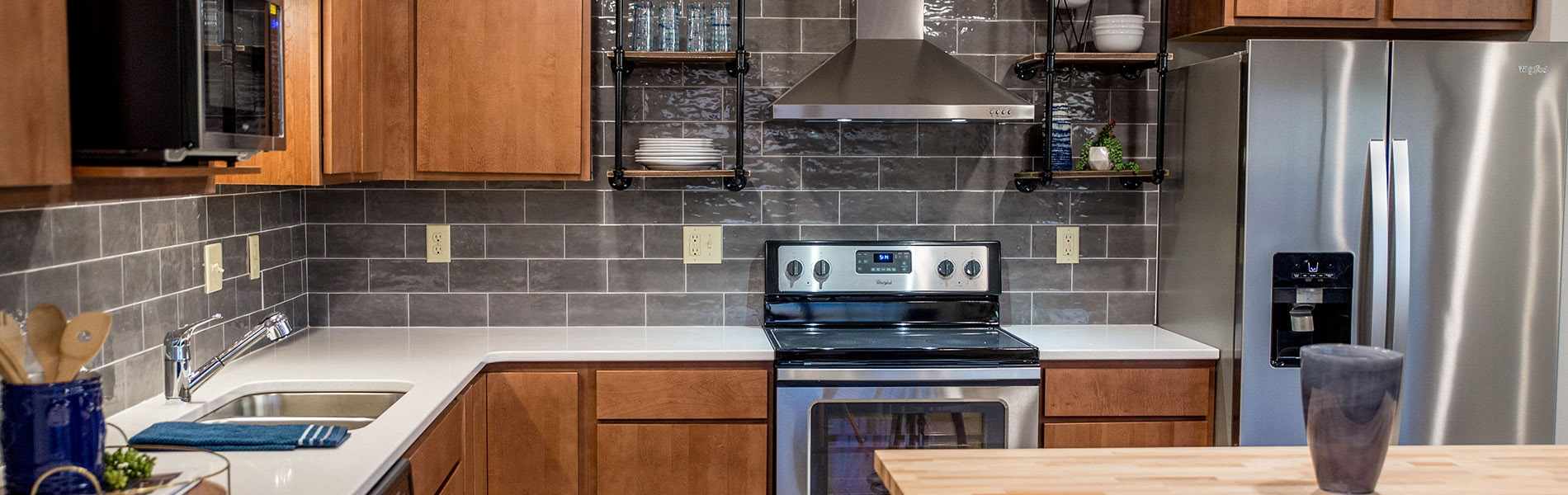 Kitchen in apartment at Sheyenne Plaza - EPIC Companies